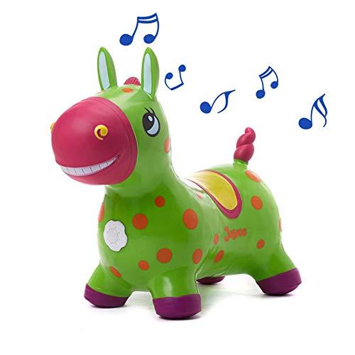YLZT Tolva de Caballo Inflable Salto de Caballo Inflable Space Hopper Ride on Bouncy Animal PVC Toy Bounce Game con música