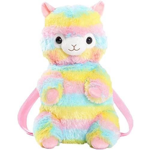 Zhenwo Rainbow Alpaca Doll Plush Alpaca Backpack Shoulder Bag Cute Alpaca Stuffed Animals Travel Backpack,A