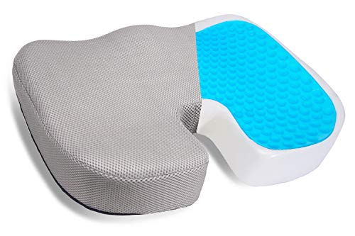 Gel Seat Cushion, Orthopedic Cooling Gel & Memory Foam Coccyx Cushion for Tailbone Pain - Office Chair Car Seat Cushion - Sciatica & Back Pain Relief - Gray with Non-Slip Bottom
