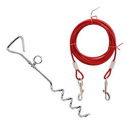 JRXyDfxn Lazo del Perro de Acero de Salida Cable con Doble Gancho y Estaca Correa de Mascota y Tether Espiral Tie-out para al Aire Libre Yard y Camping- 3 Metros Rojo