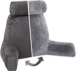 1- Husband Pillow - Dark Grey, Big Reading & Bed Rest Pillow with Arms - Sitting Up Tall - Premium Shredded Memory Foam, Detachable Neck Roll on Bungee, Removable Covers & Zipper for Adjustable Loft