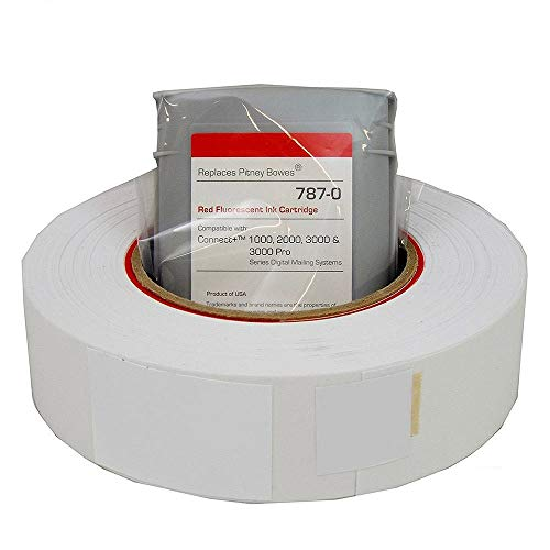 Preferred Postage Supplies PB Compatible 787-0 Red Ink Cartridge Plus Free 613-H Connect Roll SendPro P/Connect+ Series