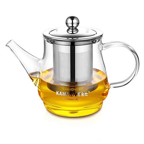 tetera acero inoxidable Tetera de vidrio resistente al calor con filtro de acero inoxidable para té y café 500ml-A-13 / 500ml