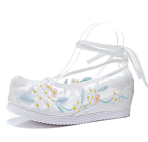 XLH Zapatos Bordados Retro De Tela De Malla Y De Seda Brillante,...