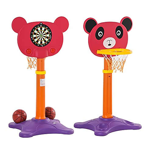 HOMCOM Canasta de Baloncesto Infantil 2 en 1 con Diana Altura Ajustable Panel en Forma de Osito Incluye 2 Pelotas y 6 Dardos Apto para Niños de +3 Años 60x46x100-160 cm Multicolor