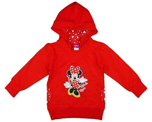 Mädchen Kapuzen-Pullover-Jacke-Pulli mit Minnie Mouse, Disney, 2 3 4 5 Jahre, Langarm in Größe 80 86 92 98 104 110 116 in Rot gepunktet (Modell 1, 104)