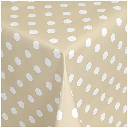 TEXMAXX Wachstuchtischdecke Wachstischdecke Wachstuch Tischdecke abwaschbar (150-04) - 100 x 140 cm - PVC Tischdecke abwischbar, Punkte Muster in Creme-Weiss