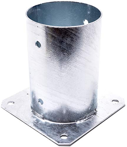 KOTARBAU® Aufschraubhülse Ø 101 mm für Rundholzpfosten Pfostenträger Bodenhülse Rund Zaunträger Hülse Feuerverzinkt Bodenplatte Anker