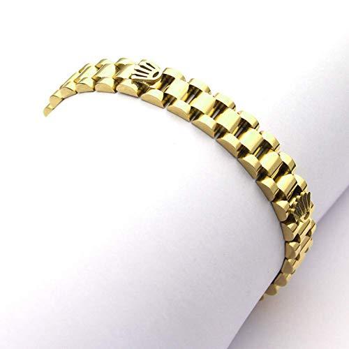 Awertaweyt Perlen Armbänder, Fashion Speedometer Gun Black Crownstainless Steel Cuff Chain Link Bracelet Bangles for Men
