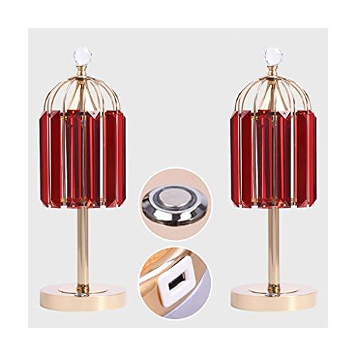 Lampara Mesilla Lámpara de mesa de cristal 2 piezas lámpara de noche lámpara de mesa de boda roja dormitorio sala de estar cálida y romántica decoración táctil lámpara de atenuación Lámparas de escrit