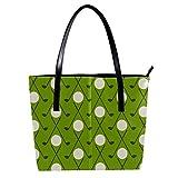 LORVIES Golftasche mit grünem Hintergrund aus PU-Leder und Handtaschen für Damen