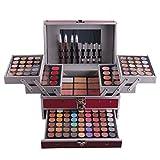 LAEMALLS 132 Colores Juego de Maquillaje, Profesional Cosmético paleta de sombra de ojos con Ceja Polvos Prensados Polvo Rubor Corrector Lápiz Labial#1