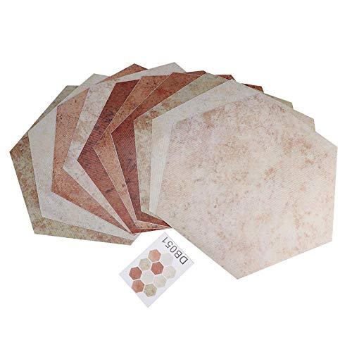 HERCHR 10 Piezas de baldosas para pelar y Pegar, Adhesivos autoadhesivos para baldosas, Adhesivos Impermeables para Suelos, 7,9x9,1 Pulgadas