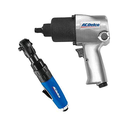 """ACDelco ANI405A-NK1 Pneumatic Heavy Duty Twin Hammer ½"""" 5-Speed Impact Wrench & 3/8"""" Ratchet Wrench Combo Tool Kit"""