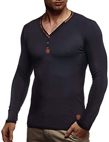 Leif Nelson heren lange mouwen V-hals slim fit katoenaandeel basic mannen sweatshirt zomer trui wit shirt met lange mouwen V-hals zwart sweater pullover T-shirt lange mouwen LN1470