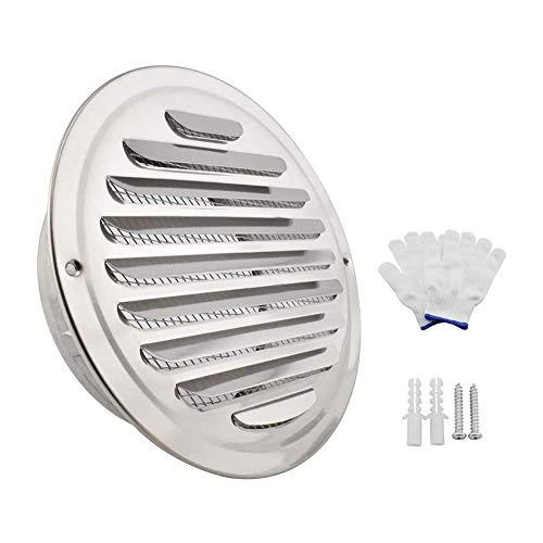 Ventilador extractor de baño 6 pulgadas Ronda sofito salida de aire de acero inoxidable Rejilla Rejilla Tapa aire de la pared extractora de humo de salida con una función de pantalla de malla