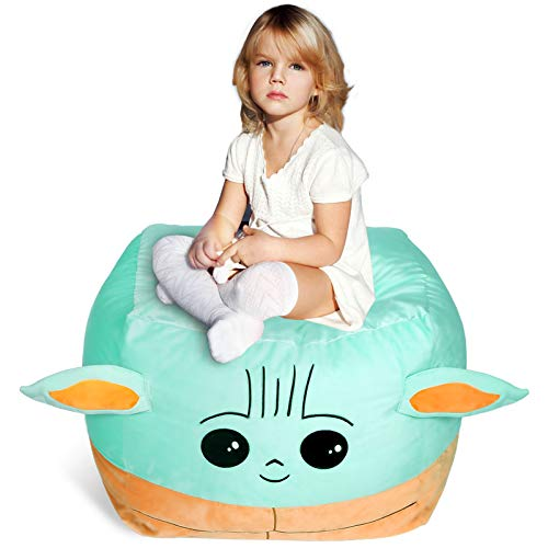 Baby Yoda Stuffed Animal Toys Storage Bean Bag Chair Cover for Kids Large Size 24 x 24 Inch Stuffable Zipper Bean Bag for Organizing Children Plush Toys Blankets Towels Clothes Home Supplies