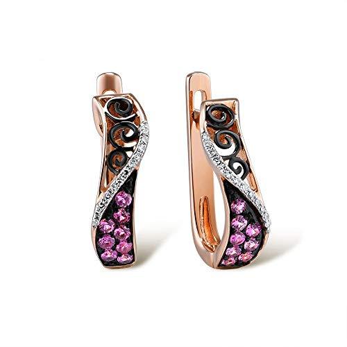 DEYUOIJ Pendiente de Oro para Mujer 14K 585 Oro Rosa Espumoso Zafiro Rosa Diamante Clásico Aniversario de Moda Joyería Fina