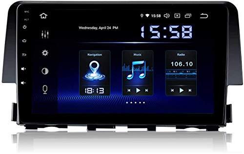 Pantalla táctil de 10 pulgadas Android 10.0 Estéreo Radio GPS Navegación Teléfono Control de teléfono Bluetooth SWC Multimedia Player Sat Nav, adecuado para Honda Civic 2006-2011 Receptor de video