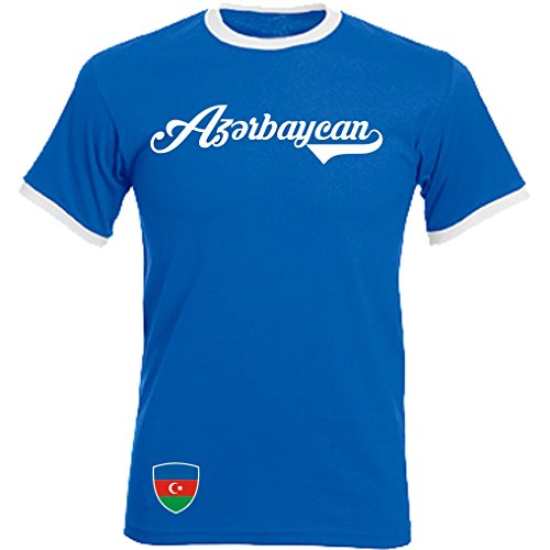 Aserbaidschan - Ringer Retro TS - Blau - WM 2018 T-Shirt Trikot Look (L)
