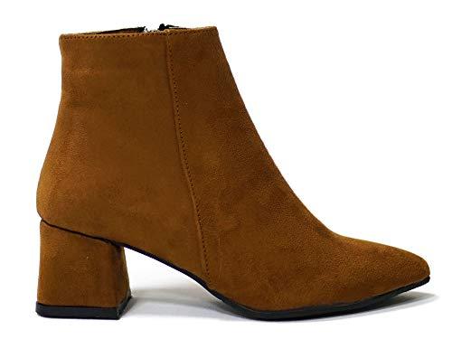 Çancı BBT1101 kozaki damskie z obcasem, botki zimowe damskie, buty z obcasem, buty damskie, brązowy - brązowy - 39 eu
