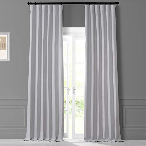 HPD HALF PRICE DRAPES LNMC-2055-108 Monochromatic Faux Linen Room Darkening Curtain Pair (2 Panels), 50 X 108, Colonial Off White