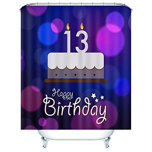 Duschvorhang Kuchen 120 x 180 cm mit 12 Duschvorhang-Haken, Anti-Schimmel, wasserdicht, Polyester, schnelltrocknend
