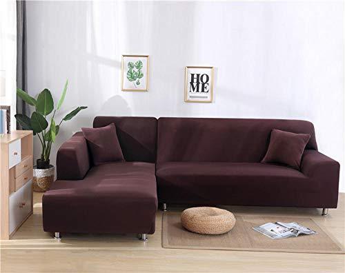 B/H Sofahusse Ecksofa Mit Ottomane,Große Elastizität für Wohnzimmer Couchbezug Ecke Schnitt L-Form Sofa-Brown_2-Seat_and_2-Seat,Elastischer Antirutsch Stretch Sofaüberzug