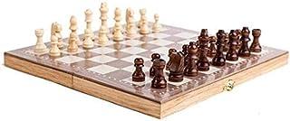 Luckyw 3-i-1 trä internationell schackuppsättning bräda resa spel schack backgammon damspel underhållning schack