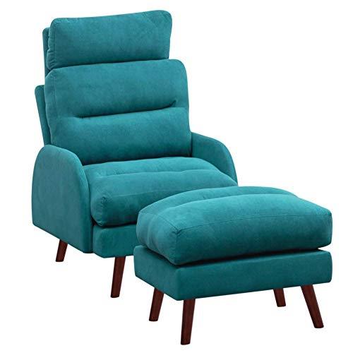 DLILI Sillón reclinable vercon reposapiés, sillón reclinable Terciopelo, Respaldo Alto, 3 Posiciones, sillón reclinable Ajustable Sala Estar, Dormitorio (Verde)