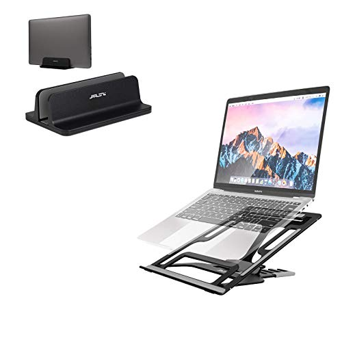 JARLINK Vertical Laptop Stand Bundle with Adjustable Laptop Stand, Foldable Aluminum Desktop Laptop Riser with Ergonomic Design, Compatible with All Laptops iPad Table (up to 15.6 inches), Upgraded