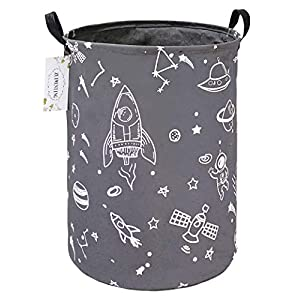 ZUIWENTING Large Size Round Laundry Storage Baskets with Handles Collapsible Waterproof Home Organizer Laundry Hamper Containers for Boys and Girls Bedroom and Nursery Clothes(Round Gray Spaceship)