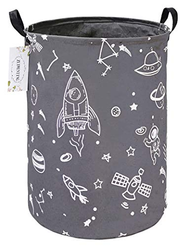 ZUIWENTING Round Storage Baskets with Handle,Collapsible & Convenient Home Organizer Containers for Kids Toys,Baby Clothing,Nersury Hamper(Gray Spaceship)