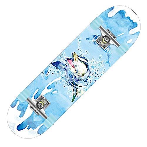 Skateboard 31x8 Zoll komplettes Cruiser-Skateboard, 7-lagige konkave Oberfläche aus kanadischem Ahorn-Double-Kick-Deck, All-in-One-Skateboard für Anfänger-Delfin