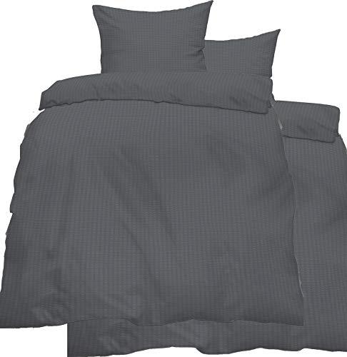 KH-Haushaltshandel 4-TLG. Seersucker Bettwäsche 2X 135x200 + 2X 80x80 cm, Uni einfarbig, grau, Reissverschluß, bügelfrei, Microfaser (60287)