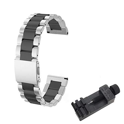 DALIANMAO Correa de metal de 20 mm y 22 mm para Huawei Watch GT2, correa de muñeca de instalación rápida (color de la correa: SZ BKSilver, ancho de la correa: 2P 22 mm)