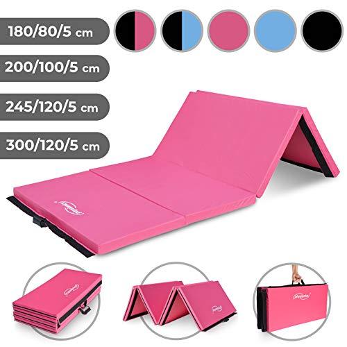 Physionics Klappbare Turnmatte (245x120cm, rosa) - Farbwahl und Größwahl, rutschfest, Tragbar, Vielseitig Einsetzbar - Gymnastikmatte, Yogamatte, Weichbodenmatte, Fitnessmatte, Klappmatte