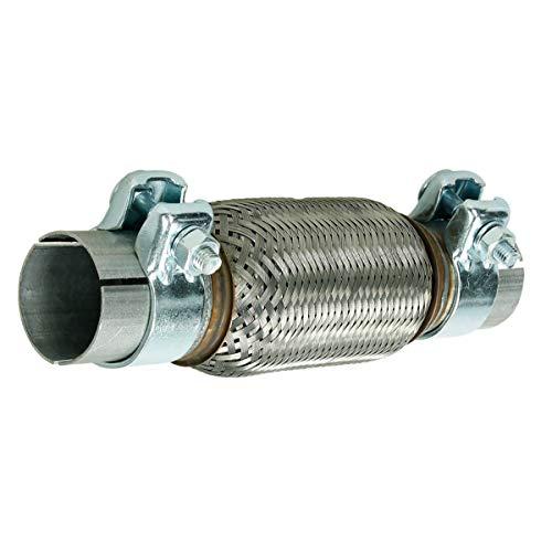 ECD Germany Tubo Flessibile di Scarico Marmitta 50 x 150 mm Flex in Acciaio Inox Rinforzato Universale Sistema Impianto Gas Scarico Saldatura con 2 Morsetti Fascette pinze per Auto