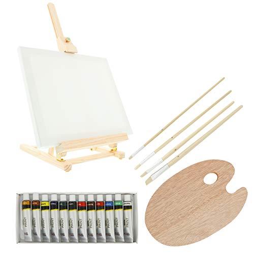 US Art Supply® Wood Studio Table Easel & Paint Box Set with 12 Paint Colors, Canvas Panels, Brushes, Plastic Palette (Oil Paint Kit)