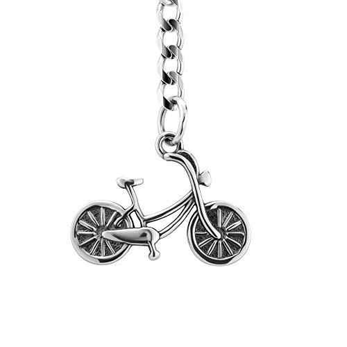 STERLL Herren Schlüssel-Anhänger Fahrrad Radfahrer Sterling-Silber 925 Oxidiert Schmuck-Beutel Geschenk Radler