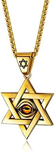 CXYCXY Co.,ltd Collar de Acero Inoxidable, Oro, Ojo Malvado, Estrella de David, Colgante, Collar, hexagrama, joyería de Israel, Regalo para Hombres y Mujeres