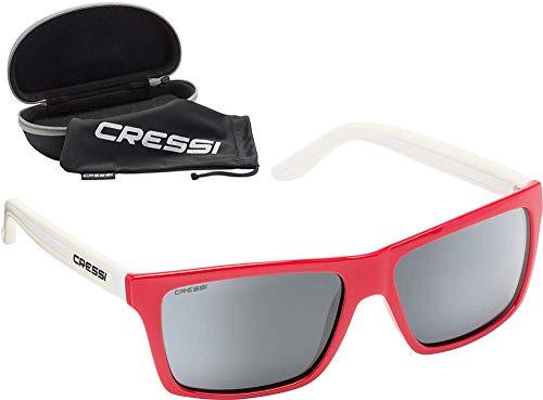 Cressi Rio Sunglasses Gafas de Sol Deportivo Polarizados, Unisex Adultos, Rojo Blanco/Lentes espejadas, Talla única