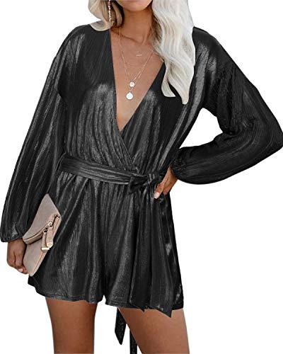 YOINS Tuta Donna Maniche Lunghe Jumpsuit Elegante Pagliaccetto Scollo a V Tutina Primavera Monopezzi Casuale Vestiti Sexy Playsuit da Spiaggia Nero XXL