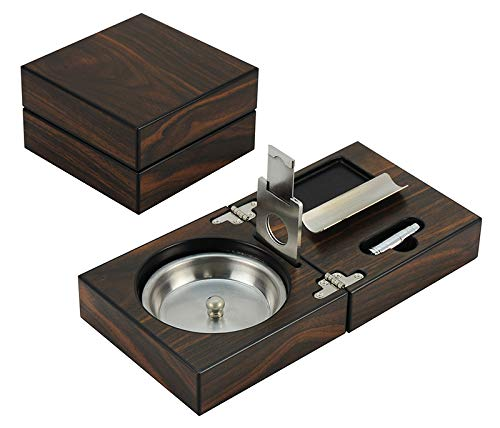 Decorebay Wooden Cigar Ashtray Set with Cigar Cutter and Foldable Collection (Maple Wood)