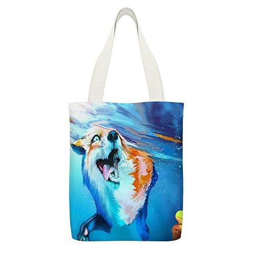 Einkaufstasche aus Segeltuch, Motiv: Fuchs, Zunge, Wasserweiß, wiederverwendbar, umweltfreundlich, super starke Schultertasche, Geschenke