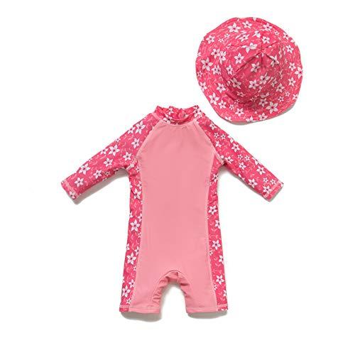 Baby Mädchen Ein stück 3/4 der ärmellänge UV-Schutz 50+ Badeanzug MIT Einem Reißverschluss(PINK-Blumen,24-36M)