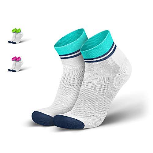 INCYLENCE Stripes Sportsocken kurz, leichte Laufsocken, atmungsaktive Funktionssocken mit Anti-Blasen Schutz, Running Ankle Socks, weiß, türkis, blau, 39-42