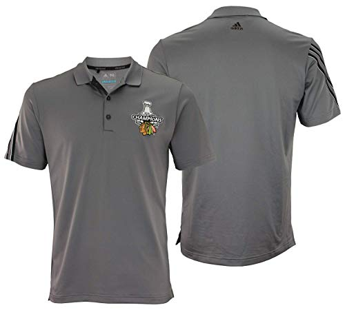Adidas NHL Herren-Poloshirt Chicago Blackhawks 3-Streifen, kurzärmelig, Herren, grau, Small