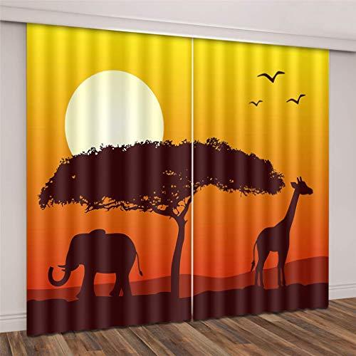 wqmdeshop Vorhänge Superweiche Verdunkelungsgiraffe Und Elefant Unter Der Untergehenden Sonne In Afrika 3D Schwarzer Seidenstoff Wärmeisolierte Ösenvorhänge 180 (H) X125 (B) Cmx2