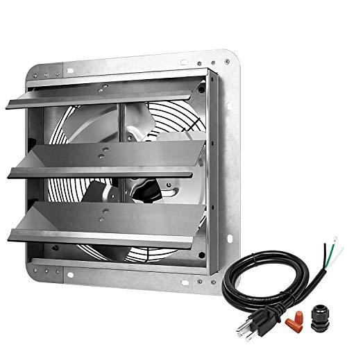 iPower 12 Inch Shutter Exhaust Fan Aluminum High Speed 1620RPM, 940 CFM, 1-PACK, Silver